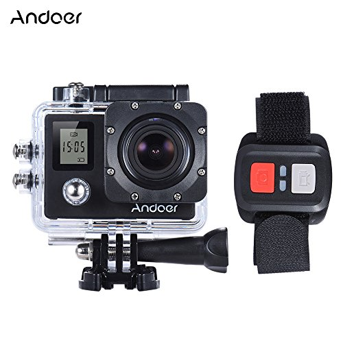 "Andoer 4K 30fps/1080P 60fps Full HD 16MP Action Camera Waterproof 30m WiFi 2.0""LCD Sports DV Cam Camcorder 170 Degree 4X Zoom Dual Screen Car DVR w/ Remote Control (Black) Andoer"