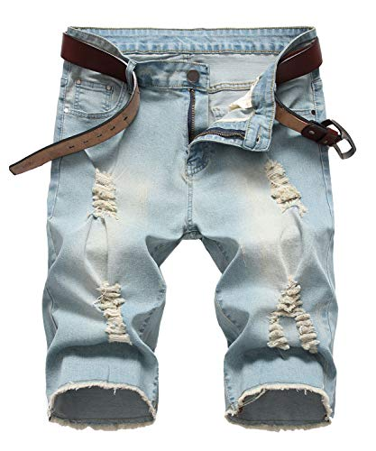 Enrica Men's Ripped Distressed Slim Fit Holes Denim Shorts (Fashion Ripped Jeans)