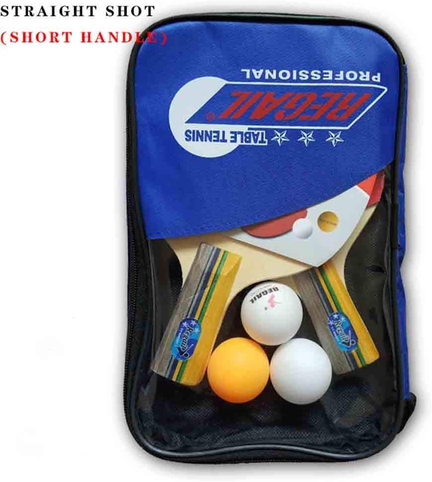 GGOODD Portátil Juego De Paletas De Ping Pong, Paquete De Tenis De Mesa, Conjunto De 2 Jugadores para Jugar En Interiores O Exteriores, 1 Estuche Portátil + 2 Paletas + 3 Bolas De Juego,Azul