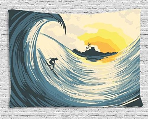 "Ambesonne Ocean Tapestry, Illustration of Cloudy Sky Tropical Island Wave and Surfer at Sunset Seascape, Wide Wall Hanging for Bedroom Living Room Dorm, 60"" X 40"", Beige Yellow"