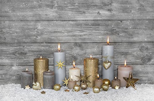 Leowefowa 7X5FT Vinyl Photography Backdrop Merry Christmas Ornaments Candles Golden Stars Balls Snow Nostalgia Stripes Wood Floor Background Kids Children Adults Happy Year Photo Studio - Stripe Ball Ornament