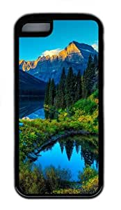iPhone 5C Case and Cover - Hdr Mountains Lake TPU Case Cover For iPhone 5C - Black