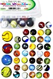 Glass Marbles with Portable Container, Set of 40 (36 Players and 4 Shooters), Assorted Colors
