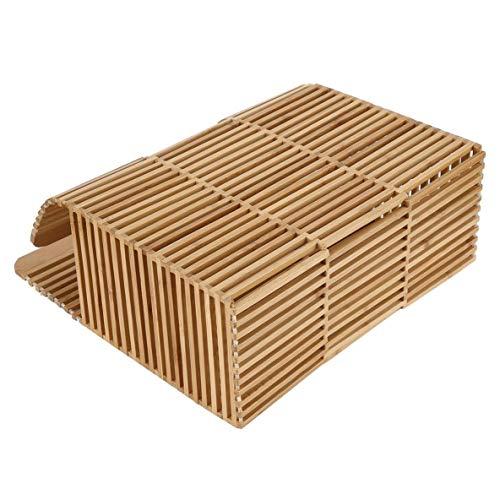 femmes couleur la pour carrée voyager à main à sac tissé main évider unique main sac Moliies bambou à forme dehors Solide A50UqO