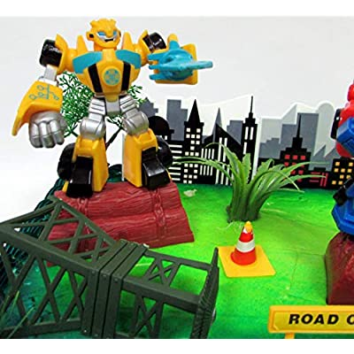 Transformers 10 Piece Birthday Cake Topper Set Featuring Bumblebee and Optimus Prime Figures with Themed Decorative Accessories - Cake Topper Set Includes All Items Pictured: Toys & Games
