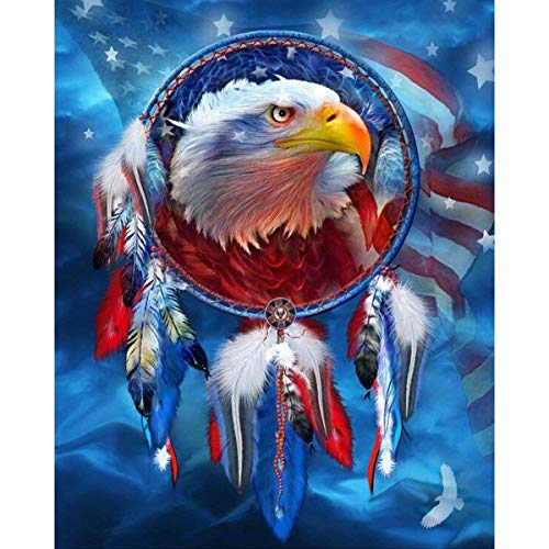 Ginfonr 5D Diamond Painting American Flag Eagle Full Drill by Number Kits for Adults, Dreamcatcher Eagle DIY Paint with Diamonds Art Craft Rhinestone Cross Stitch Decor (12x16 inch)