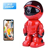 Wireless Ip Camera 1080P Robot 2.0MP Security Camera Night Vision Alarm Audio Baby Monitor Pan Tilt Remote Home Security P2P IR Night Vision for Mobile Android/IOS and Laptop (Red)
