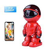 Tianbudz Camera WiFi IP Camera 1080P Robot 2.0MP Security Camera Night Vision Alarm Audio Baby Monitor Pan Tilt Remote Home Security P2P IR Night Vision Mobile Android/iOS Laptop (Red)