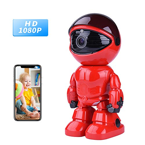 Wireless Ip Camera 1080P Robot 2.0MP Security Camera Night Vision Alarm Audio Baby Monitor Pan Tilt Remote Home Security P2P IR Night Vision for Mobile Android/IOS and Laptop (Red) by Tianbudz
