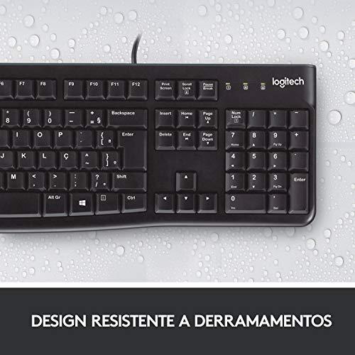 Teclado com fio USB Logitech K120 Resistente à Respingos e Layout ABNT2