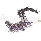 Hemway Purple Turquoise Black with Gold Silver Disc Mix Chunky Multi Purpose Dust Powder Arts & Crafts Wine Glass Decoration Weddings Flowers Cosmetic Face Eye Body Nails Skin Hair Festival 10g