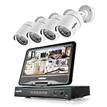 Sannce 8-Channel 720P Security DVR with Build-in 10.1 LCD Monitor and (4) 1.0MP Surveillance Wired Bullet Cameras, Email Alerts P2P Cloud Mobile Phone Remote View (NO HDD)