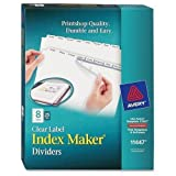 Avery Index Maker, Laser, Punched, 8-Tabs, 25 ST/BX,8-1/2''x11'',CL (LSK8B)