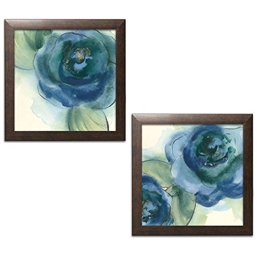 Print Framed Brown - Gango Home Decor Contemporary Wannabe Poppies I & II by Chris Paschke (Ready to Hang); Two 12x12in Brown Framed Prints