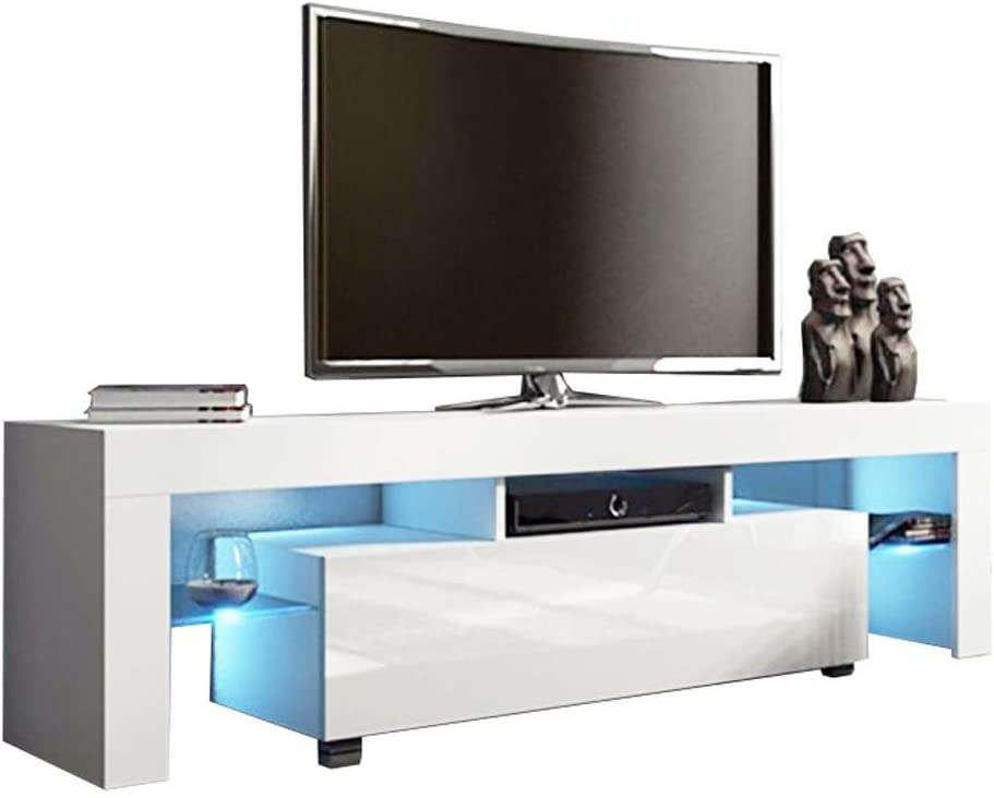Modern White TV Stand with LED Lights for 50inch TV, High Gloss Television Stand with Open Storage Shelves and 1 Drawer for Living Room Bedroom Entertainment Center Console Table