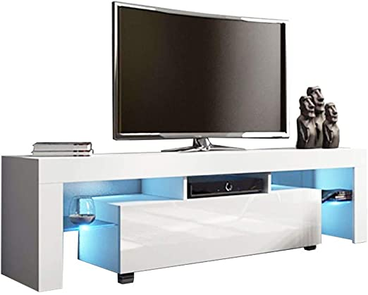 Amazon Com Yomxl Modern White Tv Stand With Led Lights High Gloss Tv Stand For 65 Inch Tv Led Tv Stand With Storage And 1 Drawers Living Room Furniture Ship From Usa White