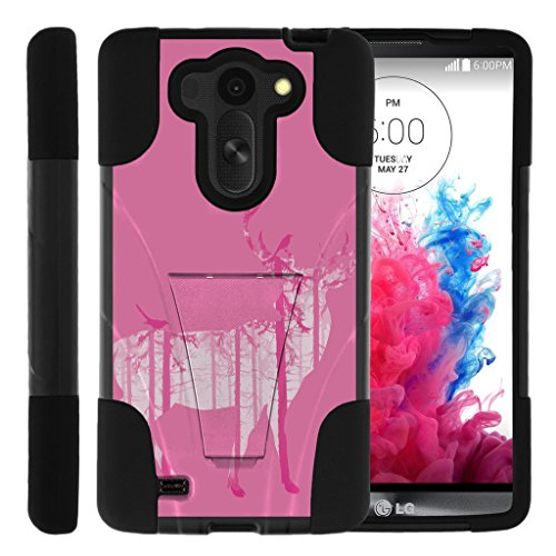 TurtleArmor | LG G Vista Case | VS880 | LG G Pro 2 Lite | D631 [Gel Max Cover] Hybrid Dual Layer Case Impact Proof Shock Silicone Cover Hard Kickstand Shell Animal Design - Pink Deer Forest