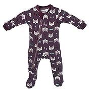 ZippyJamz Organic Baby Footed PJs w/Inseam Zipper ~ Quiet Fox Purple (0-3 Mos)