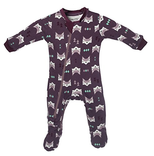 ZippyzJamz ZippyJamz Organic Baby Footed Sleeper Pajamas with Inseam Zipper for Quicker and Easier Diaper Changes ~ Quiet Fox Purple (0-3 Months) (Baby Leaf Rocker)