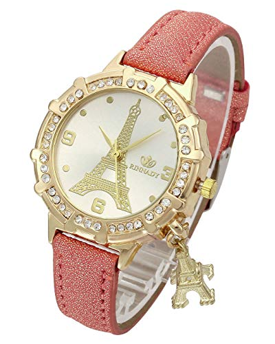 Top Plaza Womens Ladies Fashion Casual Leather Analog Quartz Wrist Watch Unique Tower Pattern Rhinestones Golen Case Dress Watches with Small Tower Charm(Red)