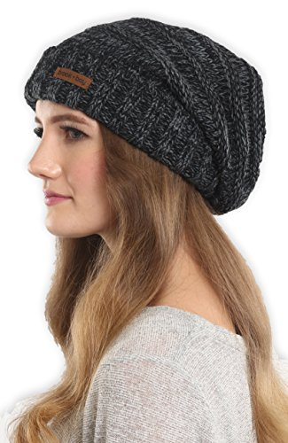 Slouchy Cable Knit Cuff Beanie - Chunky, Oversized Slouch Beanie Hats for Winter - Stay Warm & Stylish - Serious Beanies for Serious Style (with 10+ Colors) (Knit Slouch Hat)