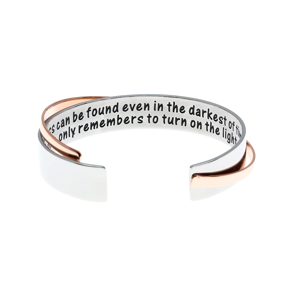 Ms. Clover Encouragement Gift, Happiness Can Be Found Even In The Darkest of Times, If One Only Remembers To Turn On The Light Inspirational Bracelet. Message Cuff. B07C33LR3Q_US