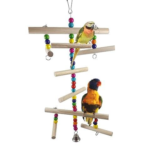 Juguete para Loros de Madera de majglge-Parrot con Cuentas de ...