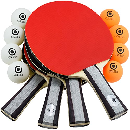 Osleek Ping Pong Paddle Set - 4 Rackets 8 Balls Professional/Recreational Table Tennis Bundle | Durable 5 Layer Blade, Performance Rubber for Control, Spin & Speed | Packed in Protective Travel Case by Osleek (Image #6)