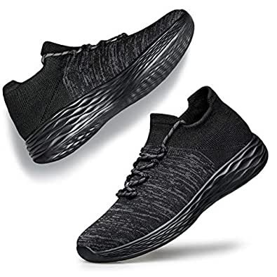 YHOON Womens Walking Shoes Slip on Sneakers - Lightweight Casual Comfortable Fashion Sock Sneakers Black Grey 5