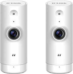 D-Link WiFi Security Camera HD, Mini Indoor, 2-Pack, Cloud Recording, Motion Detection and Night Vision, Works with ALEXA (DCS-8000LH/2PK-US),White