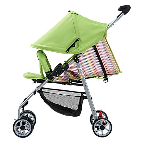 Stroller Baby Stroller Summer Summer Mesh Ultra-Light Baby can Sit Flat Shock Absorber Umbrella Baby Trolley (Color : Green)]()