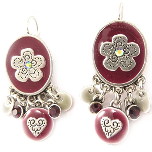 (Earrings / Dormeuses 'french touch' 'Salome' red cherry.)