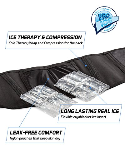 Pro Ice MEDIUM Back Ice Wrap Lumbar Support for Lower Back Pain Relief, Pinched Nerves, Sciatica - Waist Size 26''-33'', Model PI 700 Ice Packs Included by PRO ICE COLD THERAPY PRODUCTS (Image #3)