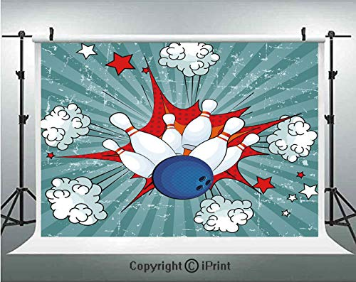 Bowling Party Decorations Photography Backdrops Retro Comic Cartoon Style Ball Crash Pop Art Blast Stars Aiming,Birthday Party Background Customized Microfiber Photo Studio ()