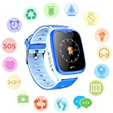 Waterproof GPS Tracker Watch for Kids - IP67 Water-resistant Smartwatches Phone with GPS/LBS Locator SOS Camera Voice Chat Games for Back to School Children Boys Girls (02 V8 Blue Advanced Edition)