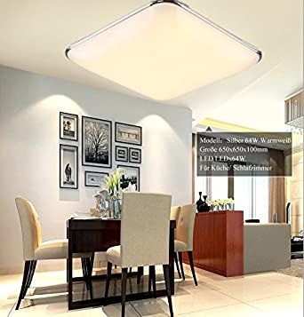 2800-3500K for Living Room Bathroom Bedroom and Dining Room LED Ceiling Lights 9000-9600LM Super Bright Silver Warmwhite AC 85-265V 50Hz SAILUN 128W Ultra-thin Modern LED Ceiling Light