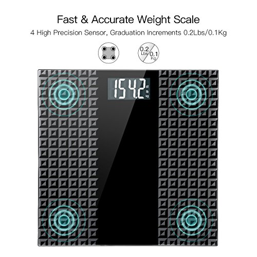 Digital Body Weight Bathroom Scale – Large Backlit Display with 8 Seconds Consistent Accurate Reading, Non-Slip Matte Wide Platform, 400 Pounds, Black