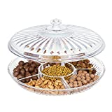 HABIBEE Creative Acrylic Multi Sectional Snack Serving Tray Set with Lid (Six Sections)