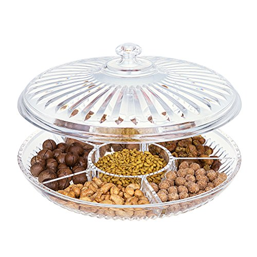 HABIBEE Creative Acrylic Multi Sectional Snack Serving Tray Set with Lid (Six Sections) (Sectional Tray)