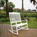 Patio Outdoor Rocking Chair White 2 Seat Pool Porch Deck Review