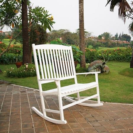 Patio Outdoor Rocking Chair White 2 Seat Pool Porch Deck