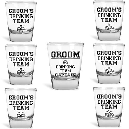 (Groomsmen Gifts Groom's Drinking Team Shot Glasses - Pack of 6 Groom's Drinking Team Member + 1 Groom's Drinking Team Captain - 1.5 oz - Bachelor Party)