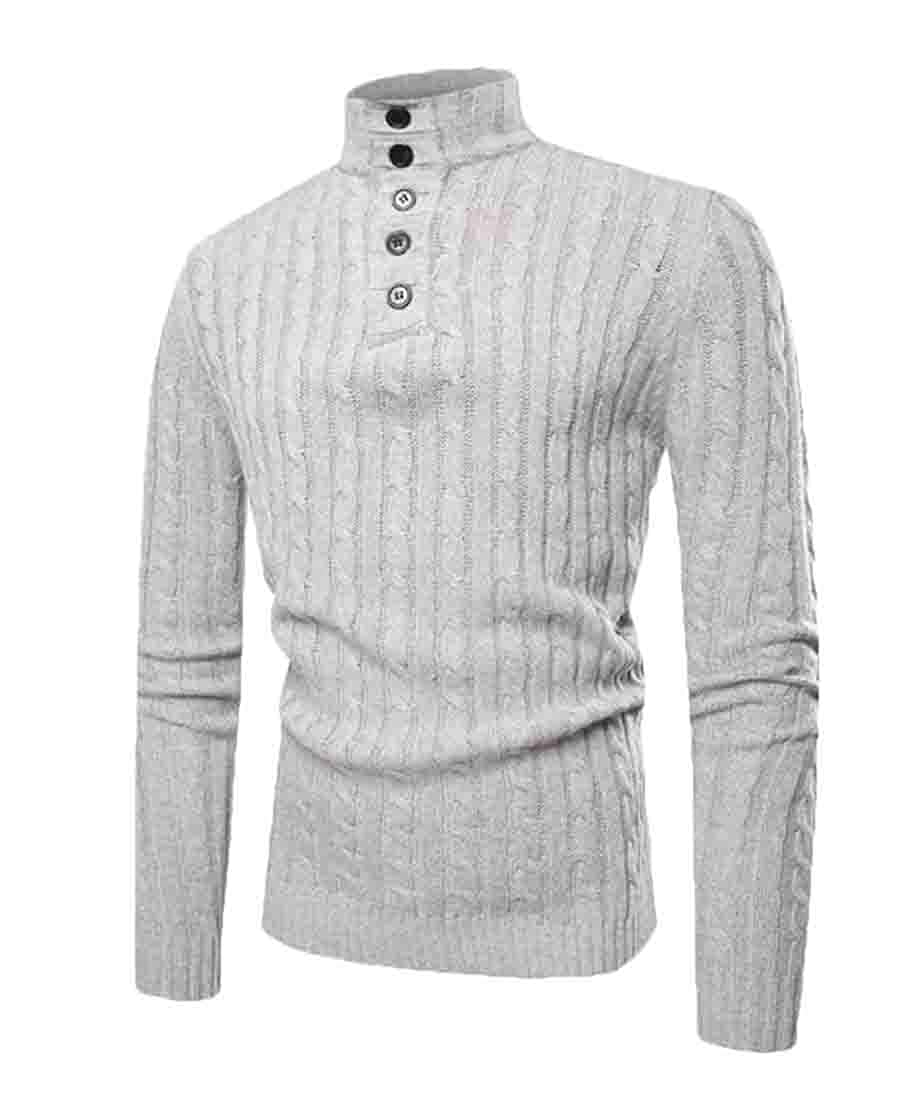 WSPLYSPJY Mens Casual Slim Fit Turtleneck Pullover Sweaters Knitted Long Sleeve Jumper
