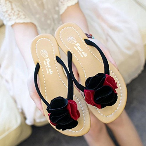 Damen Sandalen, SHOBDW Frauen Bohemia Slipper flache Schuhe Blume Freizeit Lady Sandalen Outdoor Beach Schuhe Rot