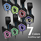 Gaming Headset with Mic for Xbox One PS4 PC Nintendo Switch Tablet Smartphone, Headphones Stereo Over Ear Bass 3.5mm Microphone Noise Canceling 7 LED Light Soft Memory Earmuffs(Free Adapter)