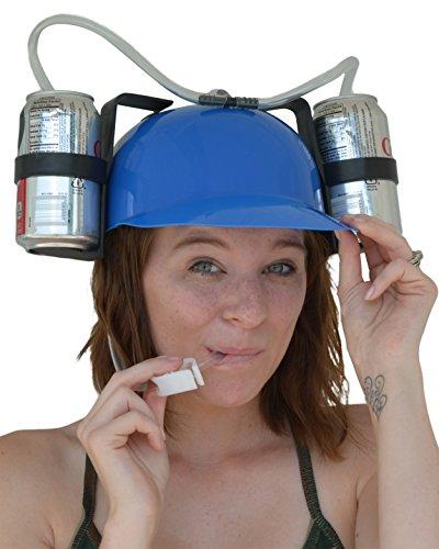 [Fairly Odd Novelties Beer Soda Guzzler Helmet Drinking Party Hat, Blue] (Beer Novelty)