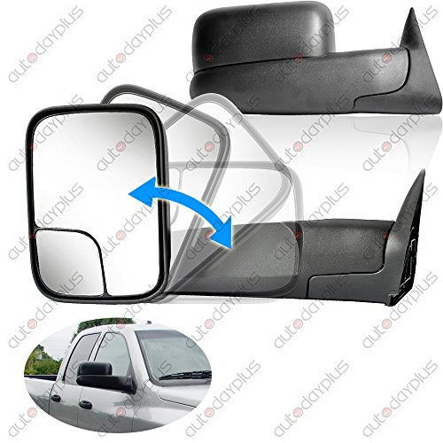 Down Step Fold Hitch Black (Spec-D Tuning RMX-RAM94-M-FS Dodge Ram 1500 2500 3500 Manual Tow Towing Fold Out Black Side Mirrors)