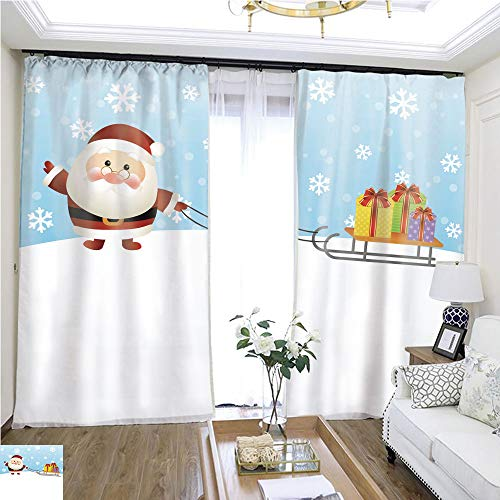 Cartoon Curtain Series Cute Santa with The Gifts on a sled W96 x L216 Sliding Door Curtain for Guest Room Highprecision Curtains for bedrooms Living Rooms Kitchens etc.