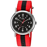Timex Weekender Red/Black Stripe Nylon Slip-Thru Strap Watch