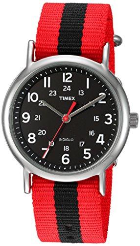 - Timex Unisex TWC030800 Weekender Red/Black Stripe Nylon Slip-Thru Strap Watch